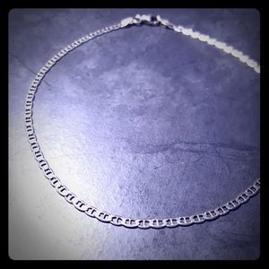 STERLING SILVER 925 flat mariner chain anklet 11""